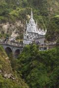 Las Lajas Sanctuary Is A Basilica Church Located In The Southern Colombia Built Stock Photos
