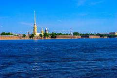 peter and paul fortress and neva river - stock photo