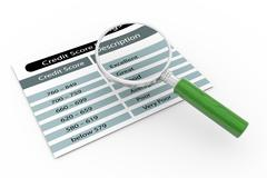 Magnifier and credit score rating Stock Illustration