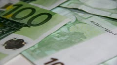 Top view sliding over of euro banknotes Stock Footage
