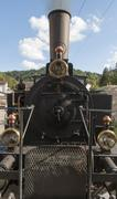 Old steam locomotive front details Stock Photos