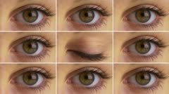 Grid of blinking eyes Stock Footage