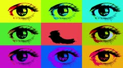 Grid of posterized eyes Stock Footage