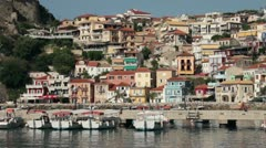 Parga harbour and jetty with town in the background, greece Stock Footage