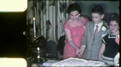 CUTTING BAR MITZVAH CAKE Jewish American 1960 (Vintage Film Home Movie) 4962 Stock Footage
