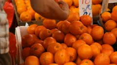Close Up Fresh Fruits, Hong Kong Market Street, Orange for sale Stock Footage