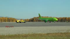 Plane just arrived, the lorry and the car with fuel already nearby Stock Footage