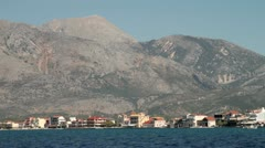 Panned shot of mytikas town in the ionian sea Stock Footage