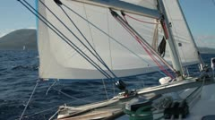 Deck of yacht sailing in brisk winds in the mediterranean Stock Footage