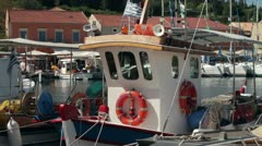 Fishing boat moored at fiskeardo, kefalonia, greece Stock Footage