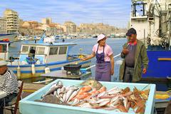 Fish fair on the street of Marseille - stock photo