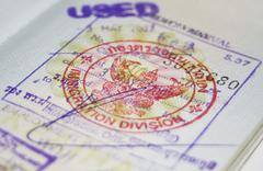 Passport with Thailand visa - stock photo