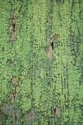 old cracked wooden board with green paint - stock photo