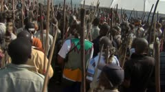 Zulu men walking slowly and singing. Stock Footage