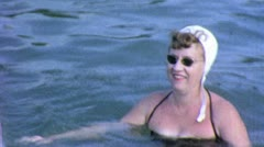 Stock Video Footage of Chubby Fat WOMAN SWIMMING Lake Summer 1960 (Vintage Film Home Movie) 4973