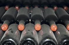 Cellars with wine bottles Stock Photos