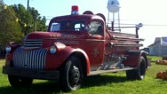 Stock Video Footage of Historic 1940s Fire Truck On Display In Tecumseh OK