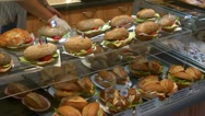German bakery fresh sanwiches on counter Stock Footage