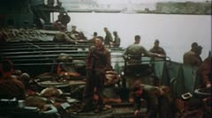 WW2 Color Footage - Africa - Allied soldiers on ship Stock Footage