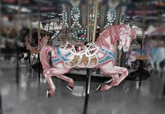 Pink carousel horse - stock photo