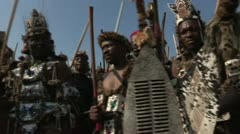 Zulu men in wearing traditional clothing Stock Footage