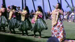 HULA CHORUS LINE Girls Hawaii Women Dancing 1960s Vintage Film Home Movie 4986 Stock Footage