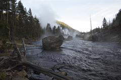 Firehole in morning - stock photo