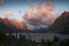 Saint Mary's lake at Sunrise - stock photo