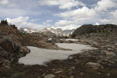 Snow bank in Mountains - stock photo