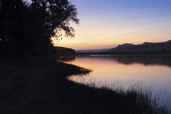 Missouri River Sunset - stock photo