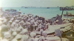 WW2 Color Footage - pacific war - us troops on beach Stock Footage
