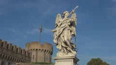 Angel Statue.Bridge of Sant 'Angelo.Rome. Stock Footage