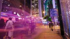 Street traffic in Hong Kong at night, hyperlapse Stock Footage
