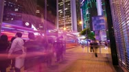 Stock Video Footage of Street traffic in Hong Kong at night, timelapse