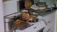 THANKSGIVING Meal TURKEY on the Kitchen Stove 1960s Vintage Film Home Movie 4996 Stock Footage