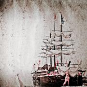 Old sail ship grunge paper texture Stock Illustration