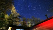 Amazing Stars Sky Pass Over Red Cabin Cottage Stock Footage