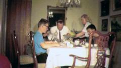 FAMILY Meal Reunion CHRISTMAS THANKSGIVING 1960s (Vintage Film Home Movie) 5002 Stock Footage