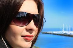 Woman With Sunglases Stock Photos