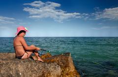 Woman Fishing Stock Photos