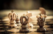 Stock Photo of chess with focus to black king in front