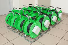 Group of cable reels for new fiber optic installation Stock Photos