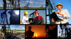 Workers in an Oilfield, multiscreen - stock footage