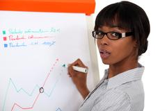 Businesswoman drawing on flip-chart - stock photo