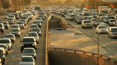 Sunset Rush Hour Traffic Jam Freeway Highway Stock Footage