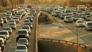 Stock Video Footage of Sunset Rush Hour Traffic Jam Freeway Highway