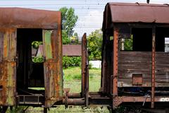 Pair Of Abandoned Wagons Rusty Condition Medium Telephoto Lens Shot From Small Stock Photos