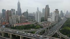 Time Lapse Office Building Crowd Freeway Multiple Lane Shanghai Skyline Daylight Stock Footage