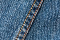 Macro Shot Of A Stitching Technique Used On Denim Jeans - stock photo