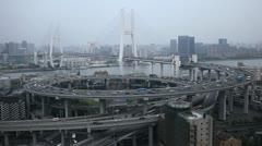 Aerial View of Shanghai, China, Nanpu Bridge Interchange, Huangpu River - stock footage